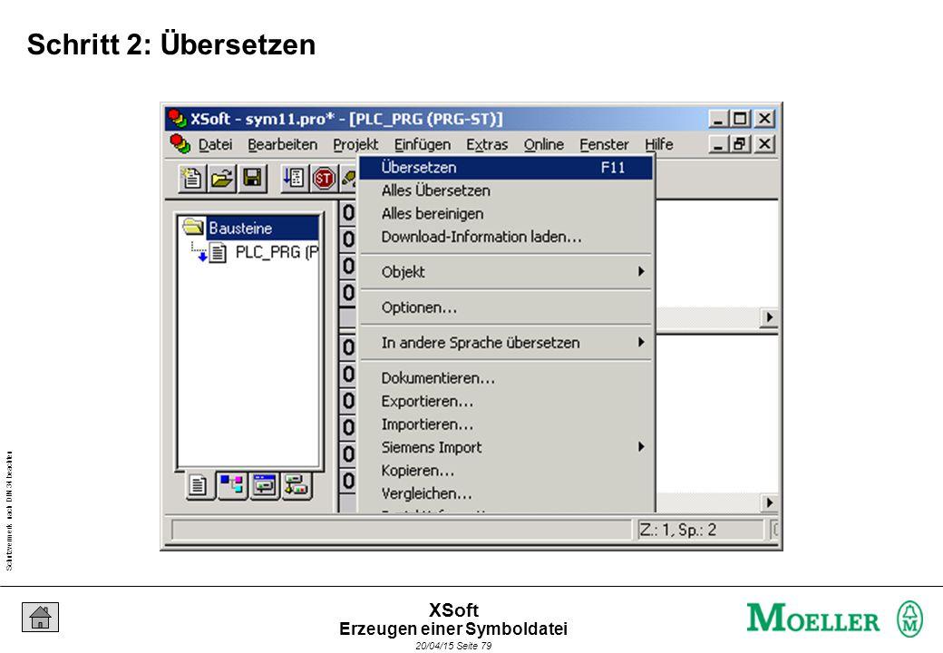 Schutzvermerk nach DIN 34 beachten 20/04/15 Seite 79 XSoft Schritt 2: Übersetzen Erzeugen einer Symboldatei