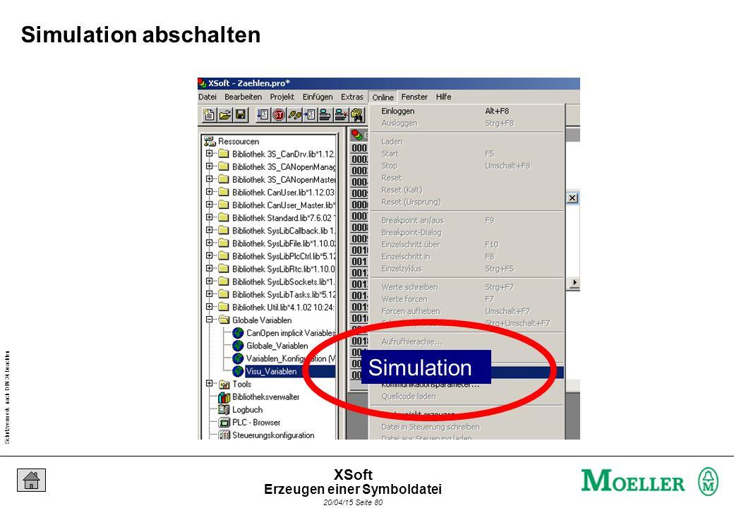 Schutzvermerk nach DIN 34 beachten 20/04/15 Seite 80 XSoft Simulation abschalten Simulation Erzeugen einer Symboldatei