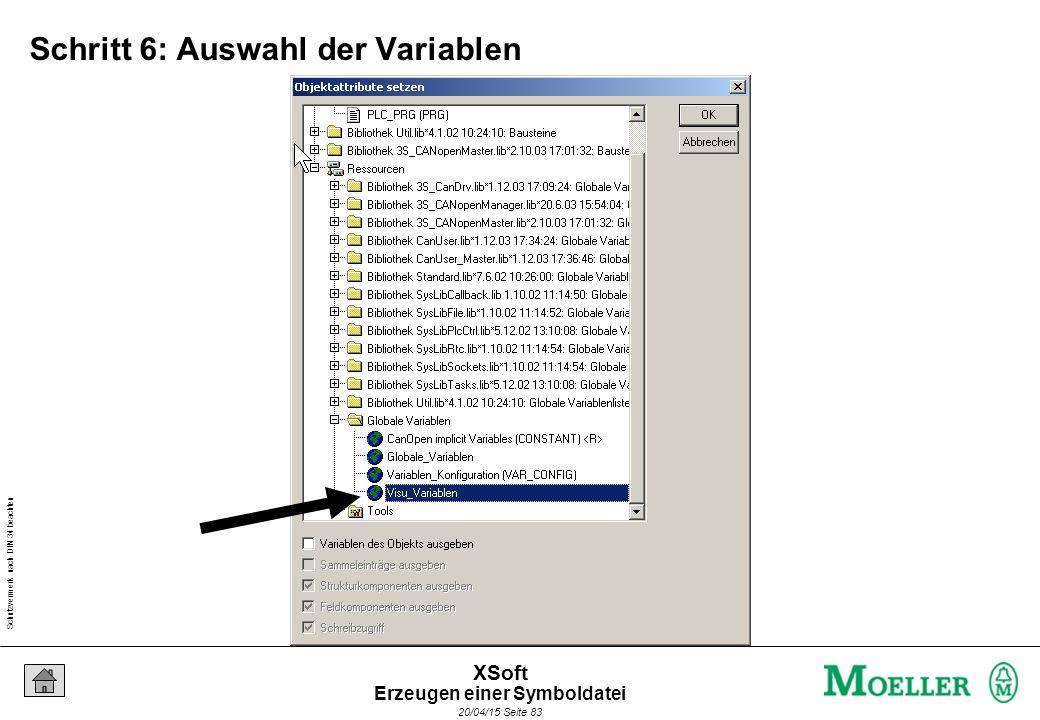 Schutzvermerk nach DIN 34 beachten 20/04/15 Seite 83 XSoft Schritt 6: Auswahl der Variablen Erzeugen einer Symboldatei