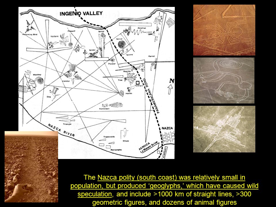The Nazca polity (south coast) was relatively small in population, but produced 'geoglyphs,' which have caused wild speculation, and include >1000 km