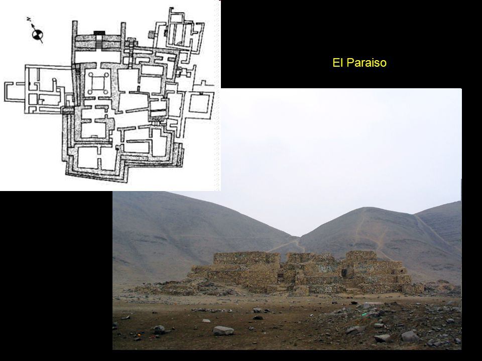 Aspero, with six substantial platforms up to 8 m (18ft) high, surrounded by 15 ha (37 acres) of deep refuse.