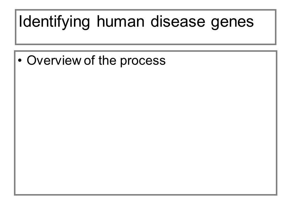 Identifying human disease genes Overview of the process