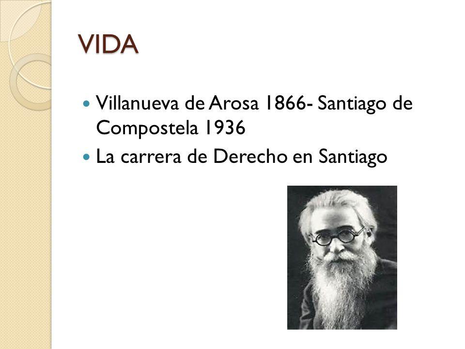VIDA Villanueva de Arosa 1866- Santiago de Compostela 1936 La carrera de Derecho en Santiago