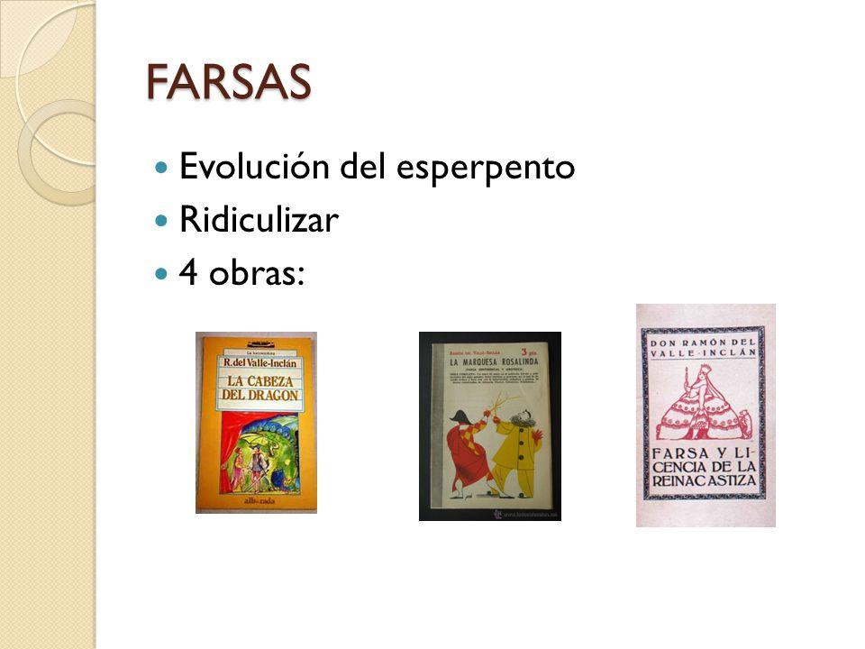 FARSAS Evolución del esperpento Ridiculizar 4 obras: