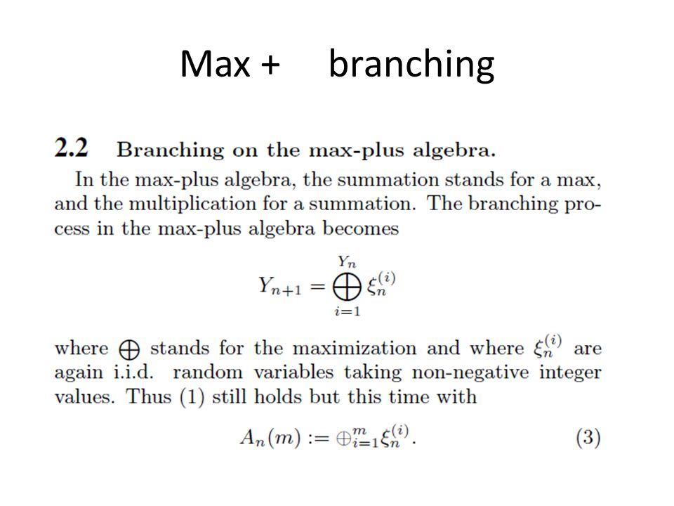 Max + branching