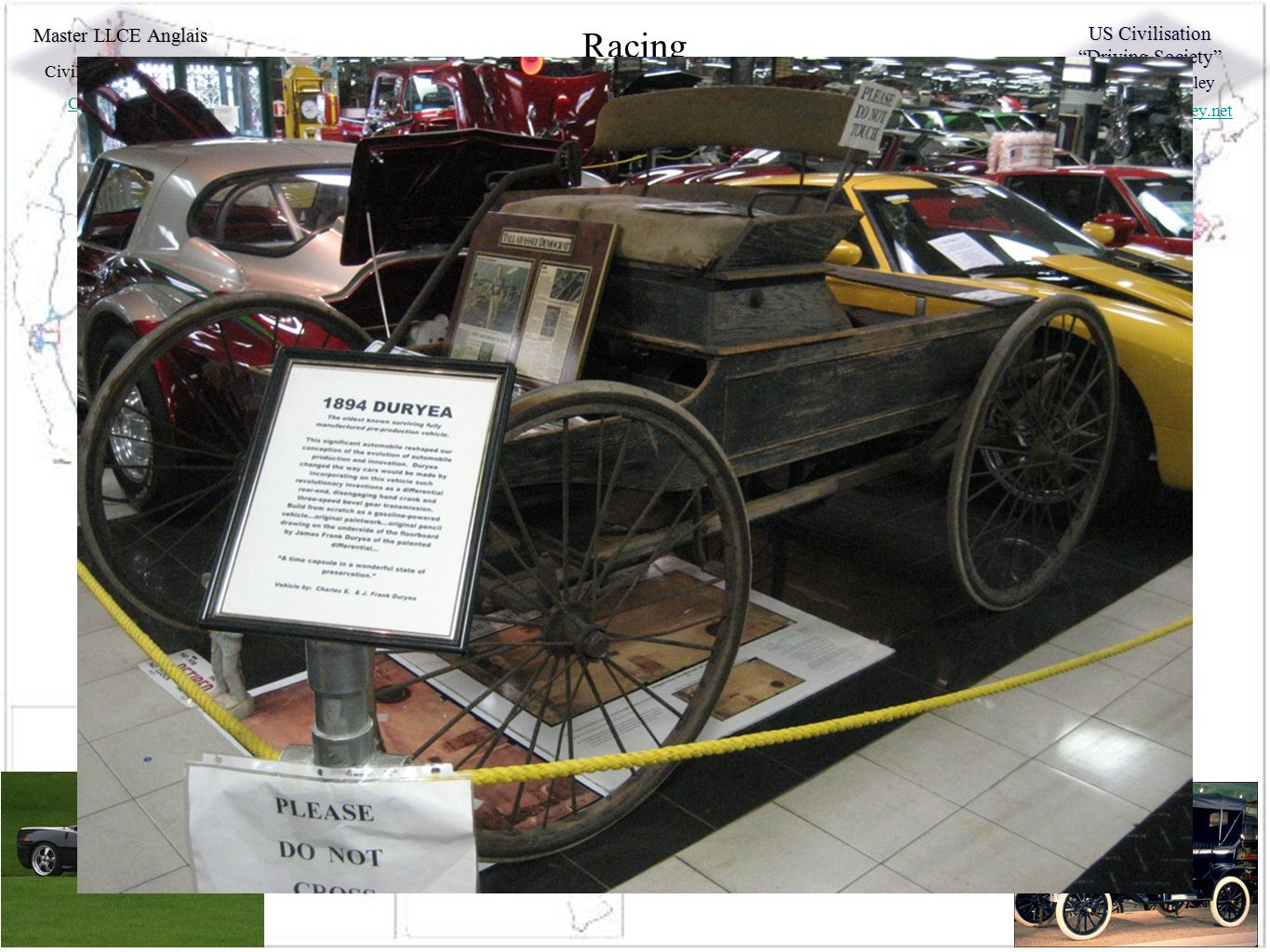 """Master LLCE Anglais Civilisation Moderne Cars in the US US Civilisation """"Driving Society"""" Charles C. Hadley http://charleshadley.net Racing Going Nowh"""