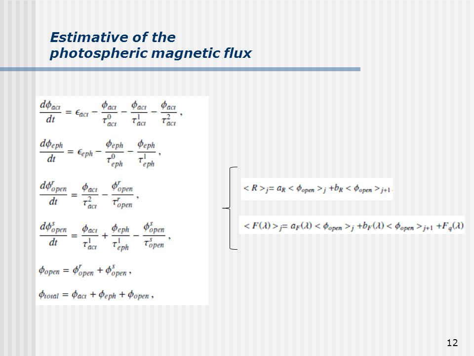 12 Estimative of the photospheric magnetic flux