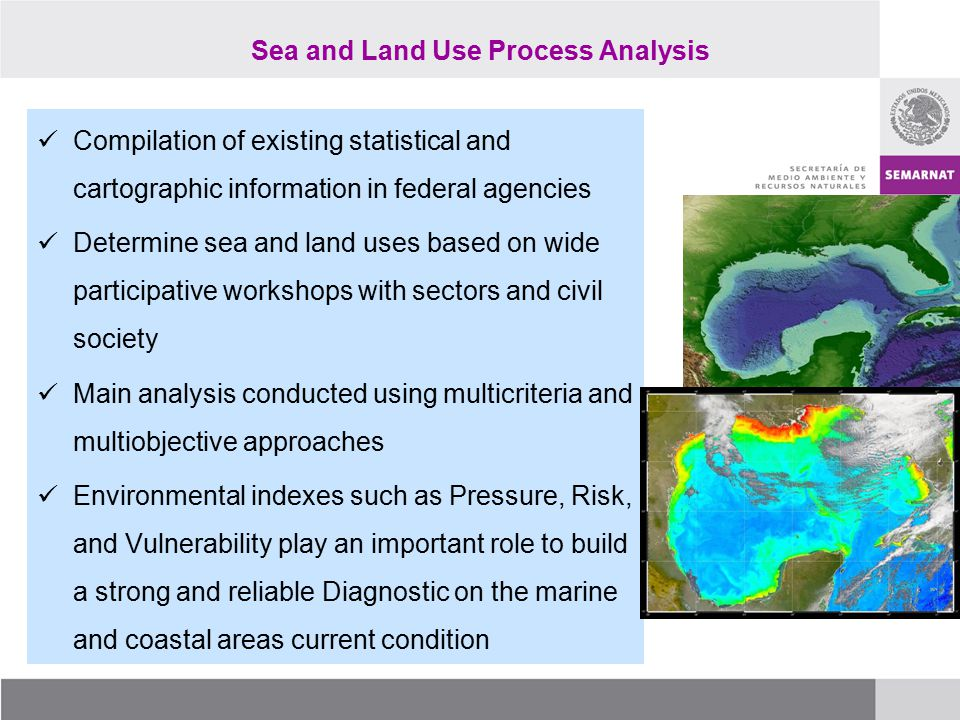 Sea and Land Use Process Analysis Compilation of existing statistical and cartographic information in federal agencies Determine sea and land uses bas