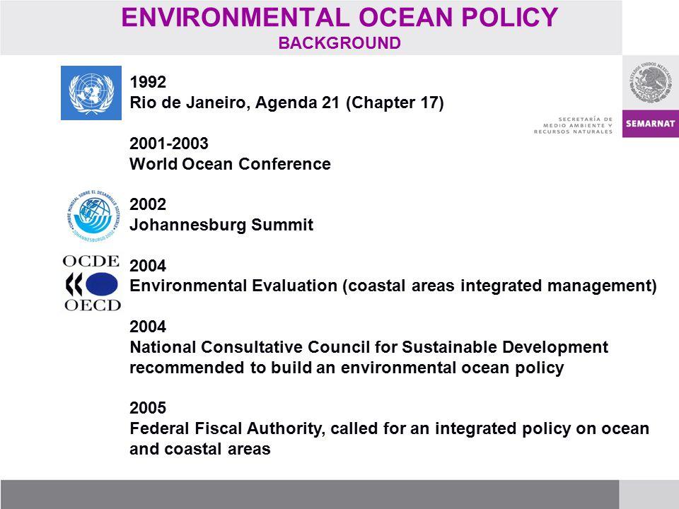 ENVIRONMENTAL OCEAN POLICY BACKGROUND 1992 Rio de Janeiro, Agenda 21 (Chapter 17) 2001-2003 World Ocean Conference 2002 Johannesburg Summit 2004 Envir