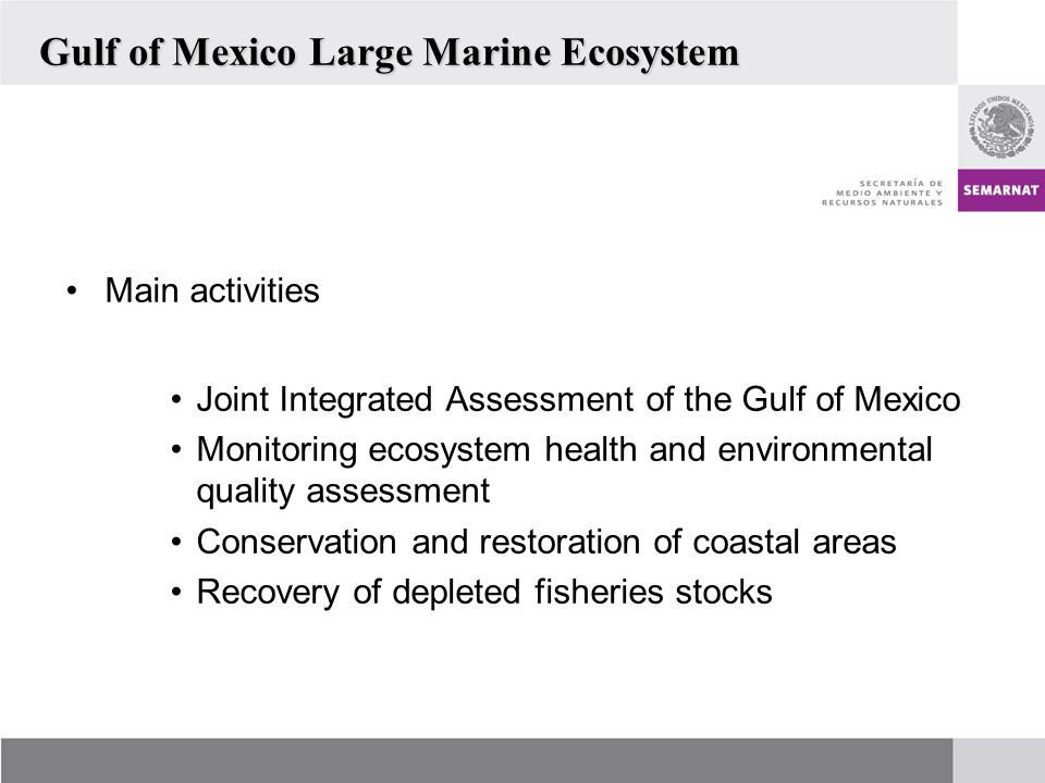 Main activities Joint Integrated Assessment of the Gulf of Mexico Monitoring ecosystem health and environmental quality assessment Conservation and restoration of coastal areas Recovery of depleted fisheries stocks Gulf of Mexico Large Marine Ecosystem