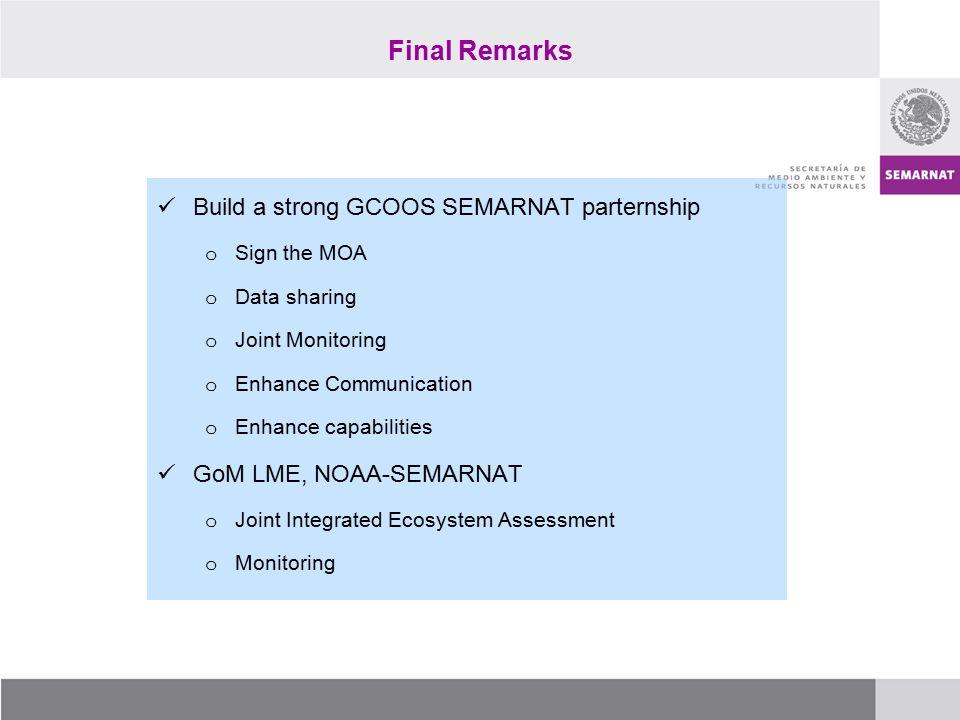 Final Remarks Build a strong GCOOS SEMARNAT parternship o Sign the MOA o Data sharing o Joint Monitoring o Enhance Communication o Enhance capabilities GoM LME, NOAA-SEMARNAT o Joint Integrated Ecosystem Assessment o Monitoring