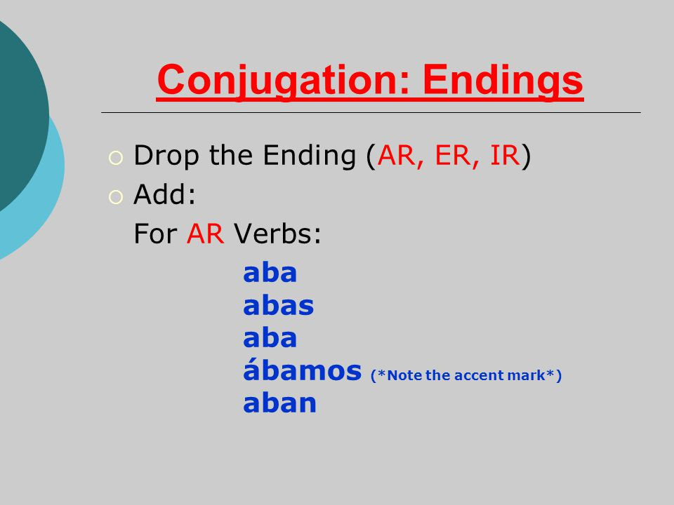 Conjugation: Endings  Drop the Ending (AR, ER, IR)  Add: For AR Verbs: aba abas aba ábamos (*Note the accent mark*) aban