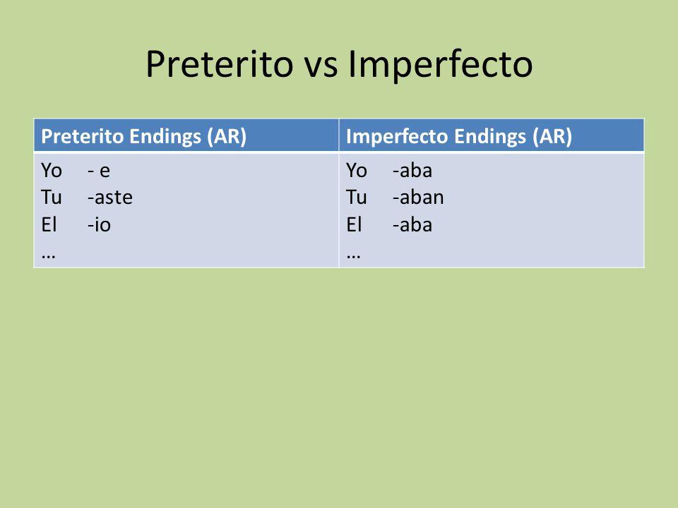 Preterito vs Imperfecto Preterito Endings (AR)Imperfecto Endings (AR) Yo - e Tu -aste El -io … Yo -aba Tu -aban El -aba …