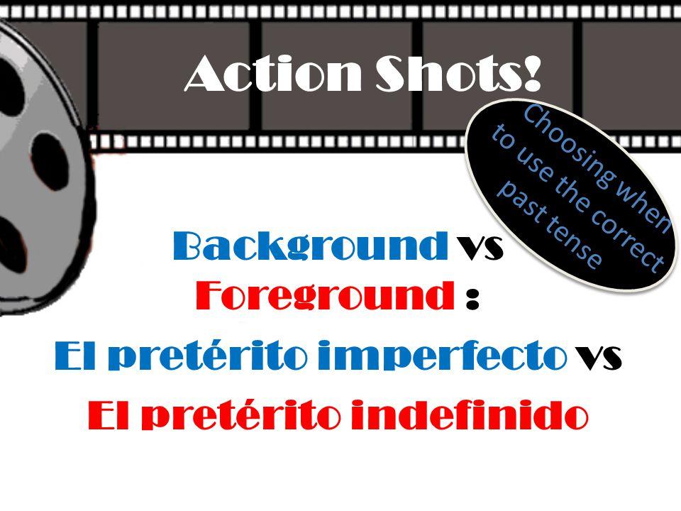 Action Shots! Background vs Foreground : El pretérito imperfecto vs El pretérito indefinido Choosing when to use the correct past tense