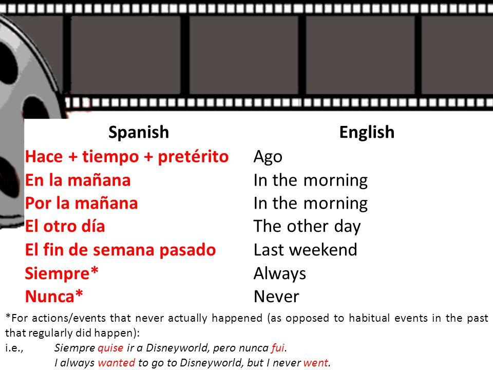 SpanishEnglish Hace + tiempo + pretéritoAgo En la mañanaIn the morning Por la mañanaIn the morning El otro díaThe other day El fin de semana pasadoLas