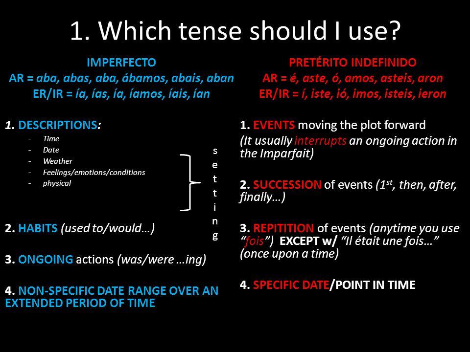 1. Which tense should I use? IMPERFECTO AR = aba, abas, aba, ábamos, abais, aban ER/IR = ía, ías, ía, íamos, íais, ían 1. DESCRIPTIONS: -Time -Date -W