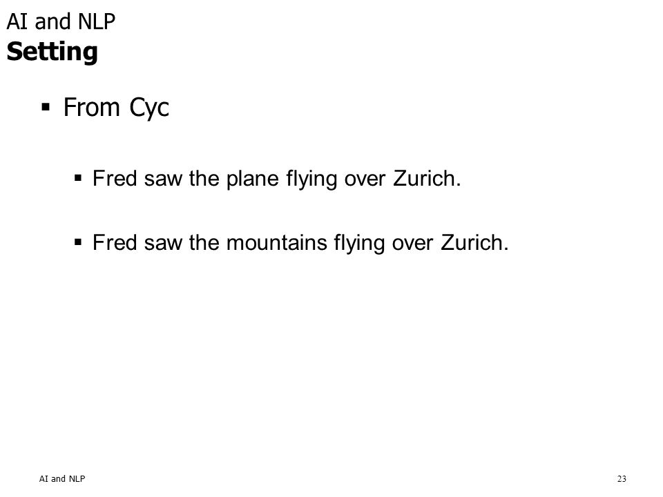 23 AI and NLP Setting  From Cyc  Fred saw the plane flying over Zurich.