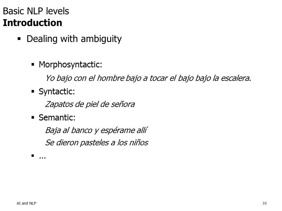AI and NLP30  Dealing with ambiguity  Morphosyntactic: Yo bajo con el hombre bajo a tocar el bajo bajo la escalera.