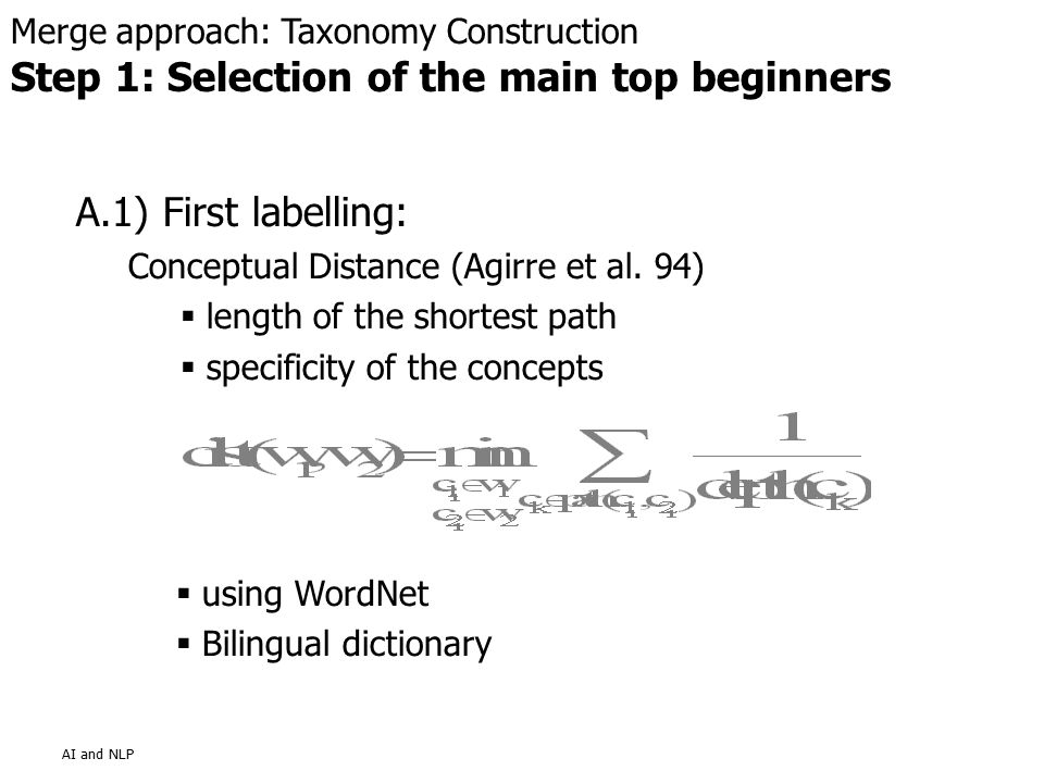AI and NLP A.1) First labelling: Conceptual Distance (Agirre et al.