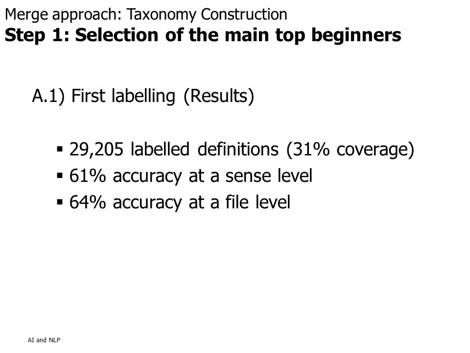 AI and NLP A.1) First labelling (Results)  29,205 labelled definitions (31% coverage)  61% accuracy at a sense level  64% accuracy at a file level Merge approach: Taxonomy Construction Step 1: Selection of the main top beginners