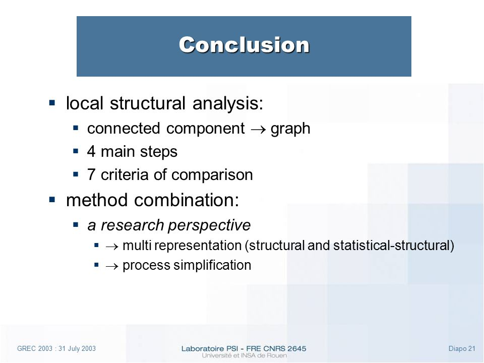 GREC 2003 : 31 July 2003Diapo 21 Conclusion  local structural analysis:  connected component  graph  4 main steps  7 criteria of comparison  method combination:  a research perspective   multi representation (structural and statistical-structural)   process simplification