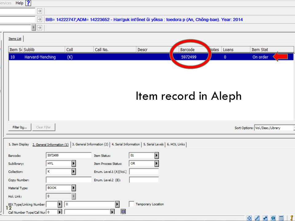 Item record in Aleph 12
