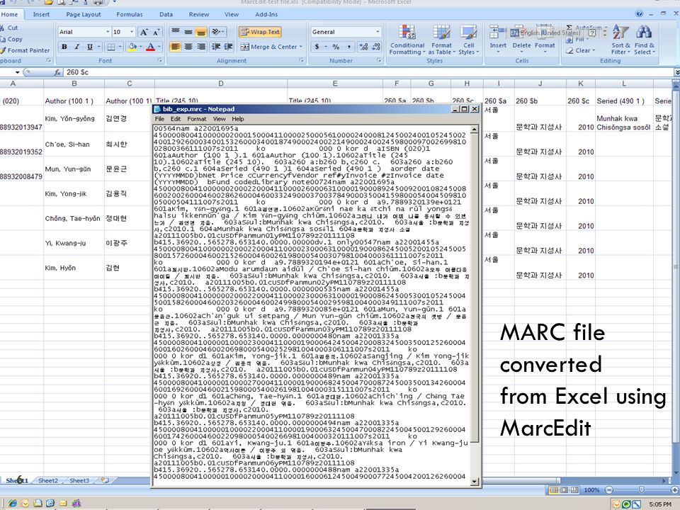 MARC file converted from Excel using MarcEdit 6