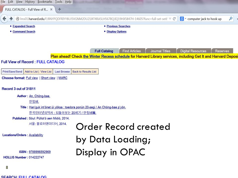 Order Record created by Data Loading; Display in OPAC 8