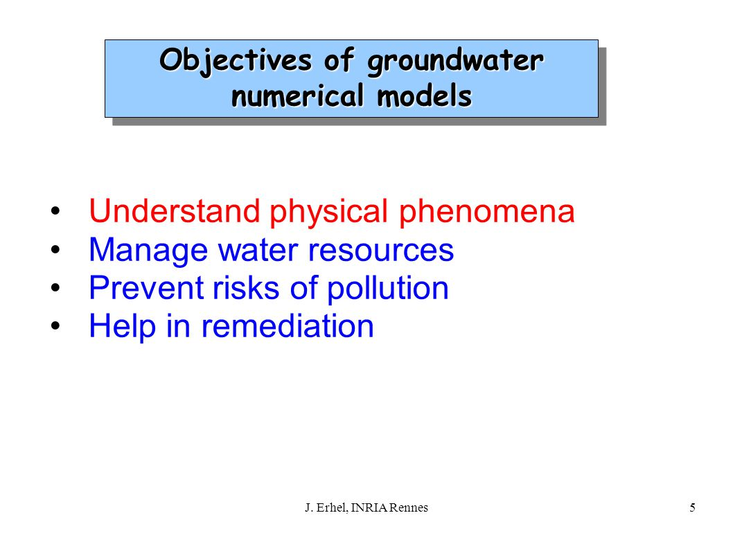 5 Understand physical phenomena Manage water resources Prevent risks of pollution Help in remediation Objectives of groundwater numerical models