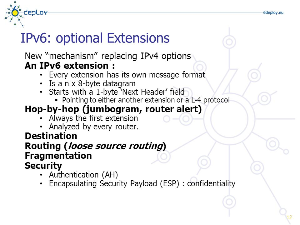 IPv6: optional Extensions New mechanism replacing IPv4 options An IPv6 extension : Every extension has its own message format Is a n x 8-byte datagram Starts with a 1-byte 'Next Header' field  Pointing to either another extension or a L-4 protocol Hop-by-hop (jumbogram, router alert) Always the first extension Analyzed by every router.