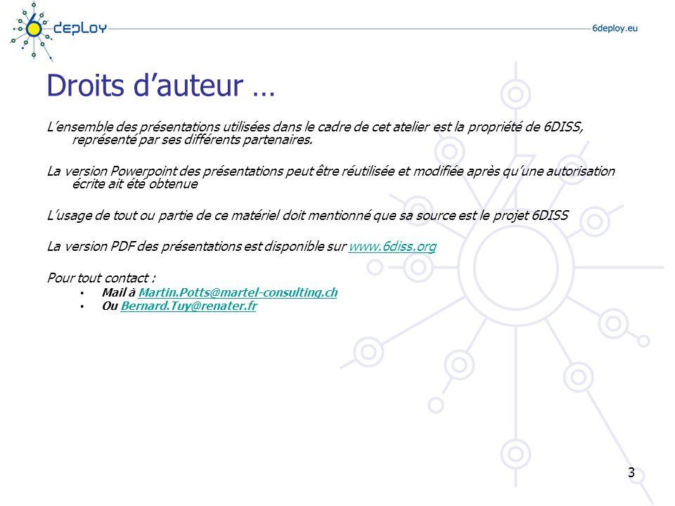 Contribs B. Tuy, RENATER L. Toutain, ENST-B 4