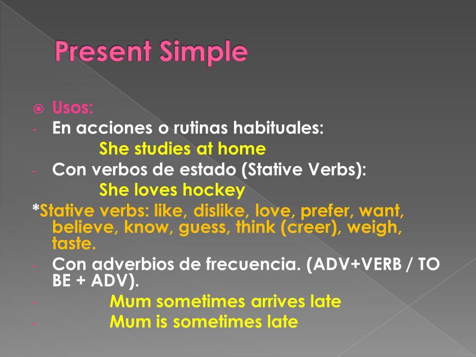 Formas: - Afirmativas: SUJ + Vsin to.Se añade –s/es en la 3ª pers sing.