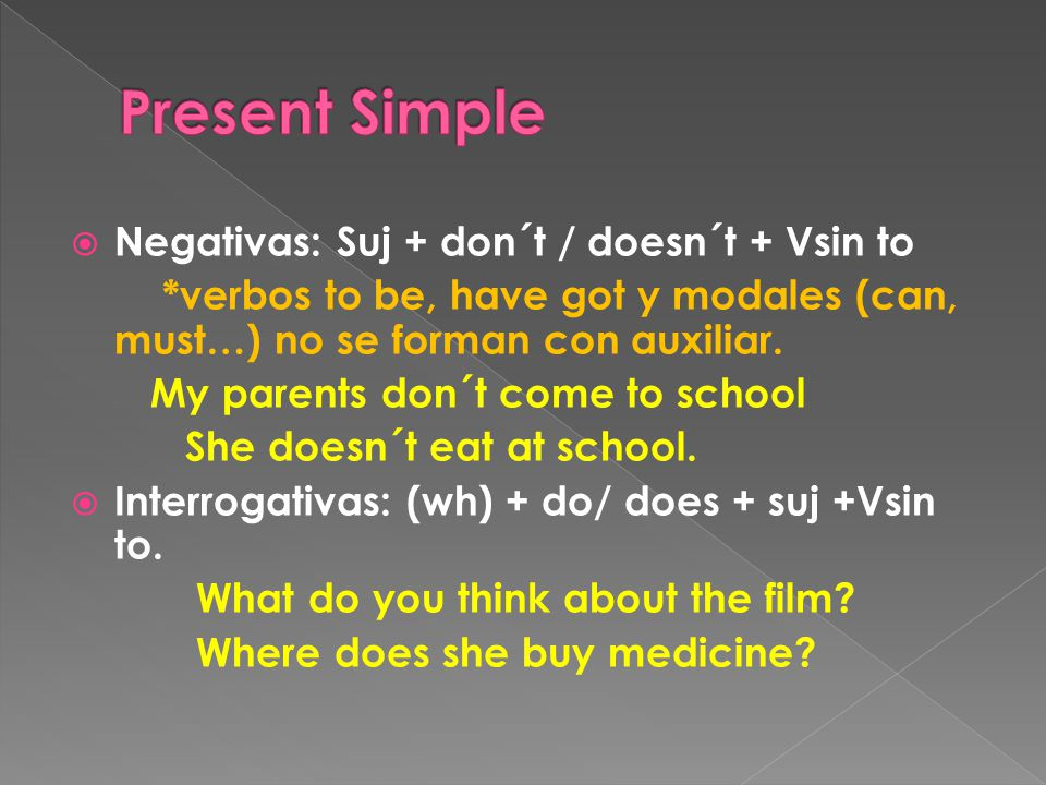  Negativas: Suj + don´t / doesn´t + Vsin to *verbos to be, have got y modales (can, must…) no se forman con auxiliar. My parents don´t come to school