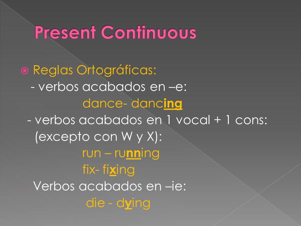  Reglas Ortográficas: - verbos acabados en –e: dance- danc ing - verbos acabados en 1 vocal + 1 cons: (excepto con W y X): run – ru nn ing fix- fi x ing - Verbos acabados en –ie: die - d y ing