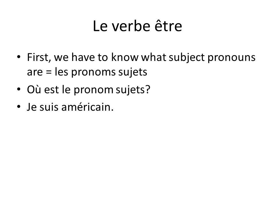Le verbe être First, we have to know what subject pronouns are = les pronoms sujets Où est le pronom sujets.