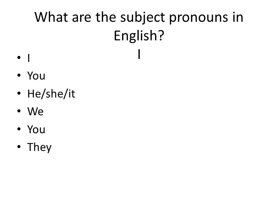 What are the subject pronouns in English I I You He/she/it We You They