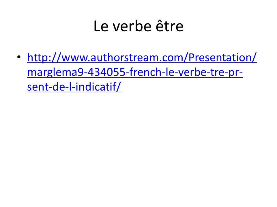 Le verbe être http://www.authorstream.com/Presentation/ marglema9-434055-french-le-verbe-tre-pr- sent-de-l-indicatif/ http://www.authorstream.com/Presentation/ marglema9-434055-french-le-verbe-tre-pr- sent-de-l-indicatif/