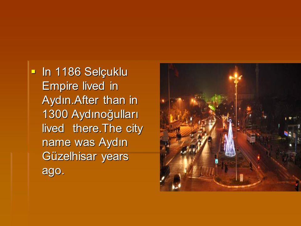  In 1186 Selçuklu Empire lived in Aydın.After than in 1300 Aydınoğulları lived there.The city name was Aydın Güzelhisar years ago.