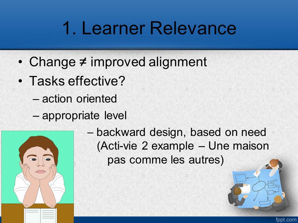 1. Learner Relevance Change = improved alignment Tasks effective.