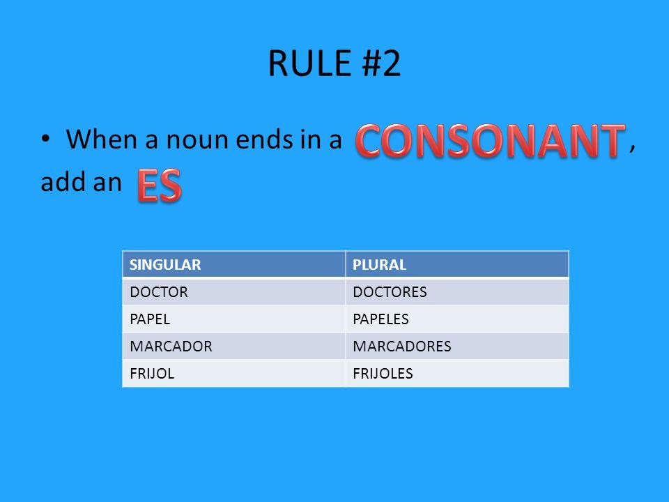 RULE #2 When a noun ends in a, add an SINGULARPLURAL DOCTORDOCTORES PAPELPAPELES MARCADORMARCADORES FRIJOLFRIJOLES