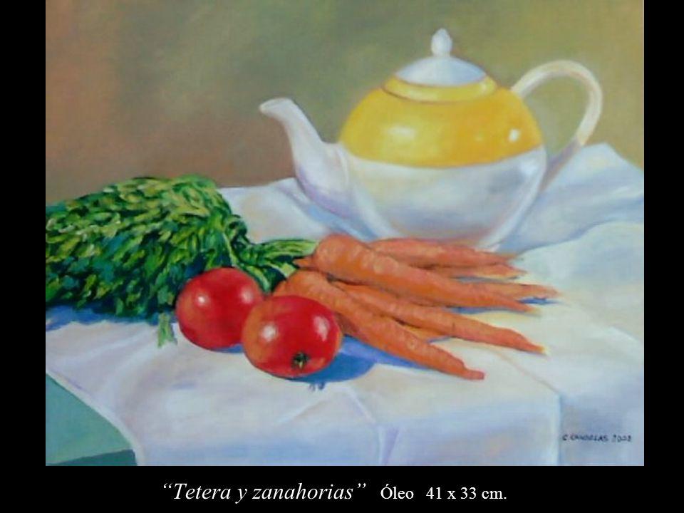 Tetera y zanahorias Óleo 41 x 33 cm.