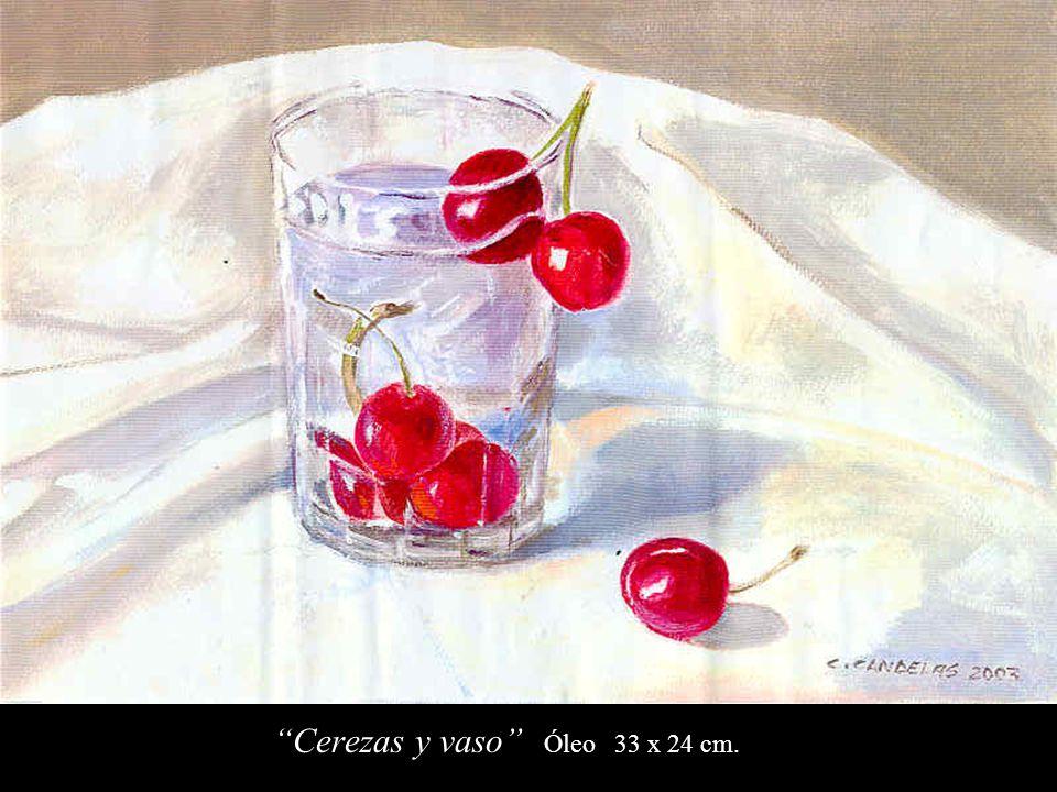 Cerezas y vaso Óleo 33 x 24 cm.