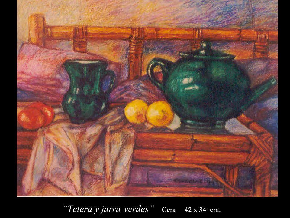 Tetera y jarra verdes Cera 42 x 34 cm.