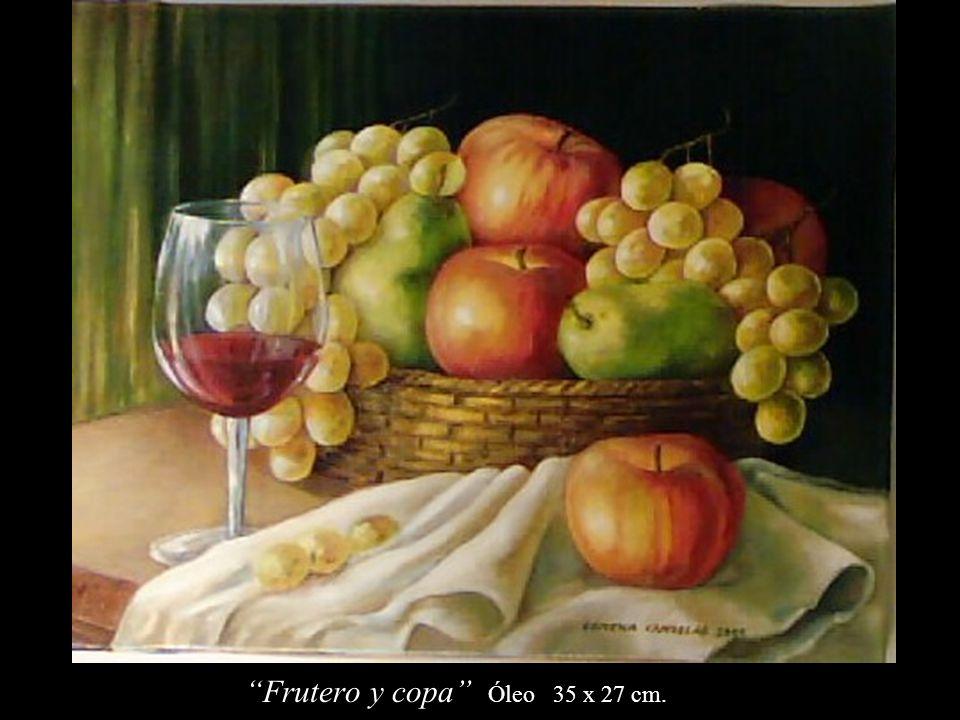 Frutero y copa Óleo 35 x 27 cm.