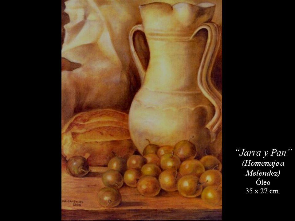 Jarra y Pan (Homenaje a Melendez) Óleo 35 x 27 cm.