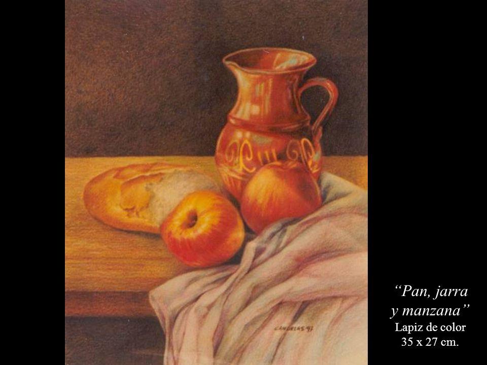 Pan, jarra y manzana Lapiz de color 35 x 27 cm.