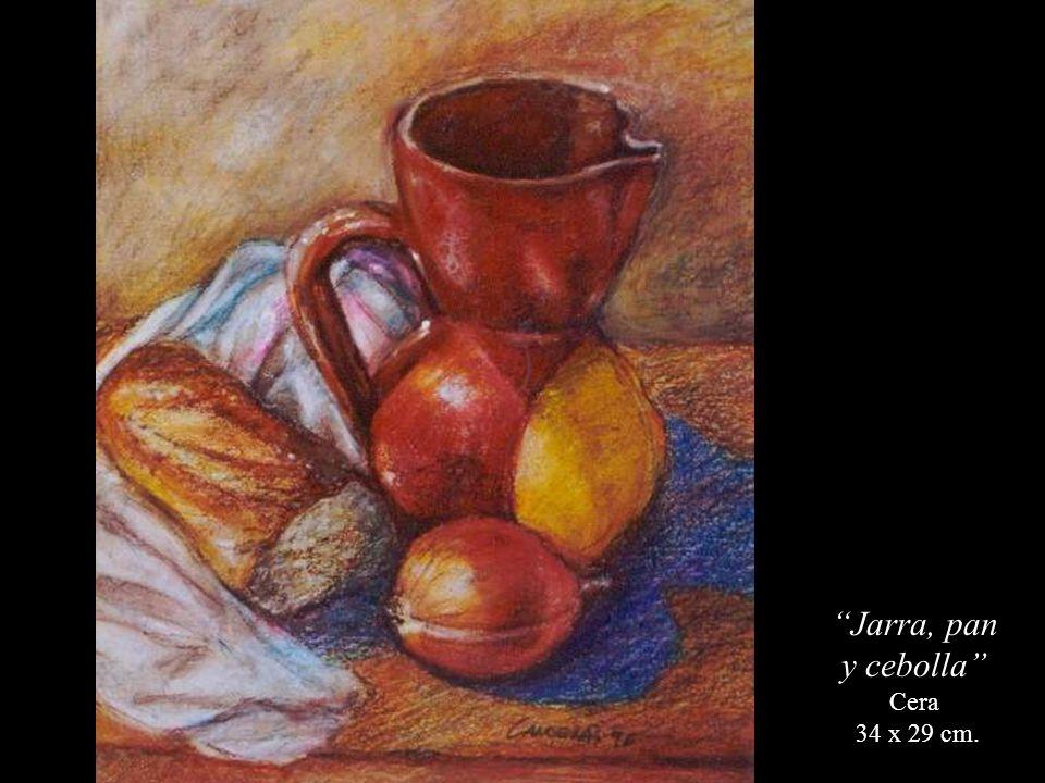 Jarra, pan y cebolla Cera 34 x 29 cm.