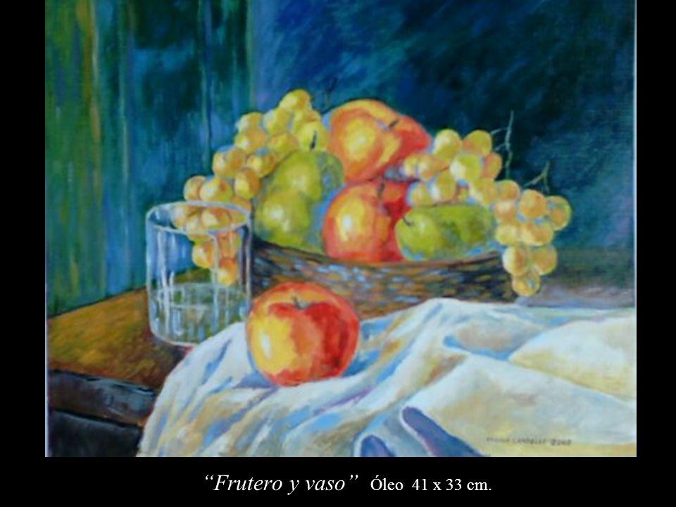 Frutero y vaso Óleo 41 x 33 cm.