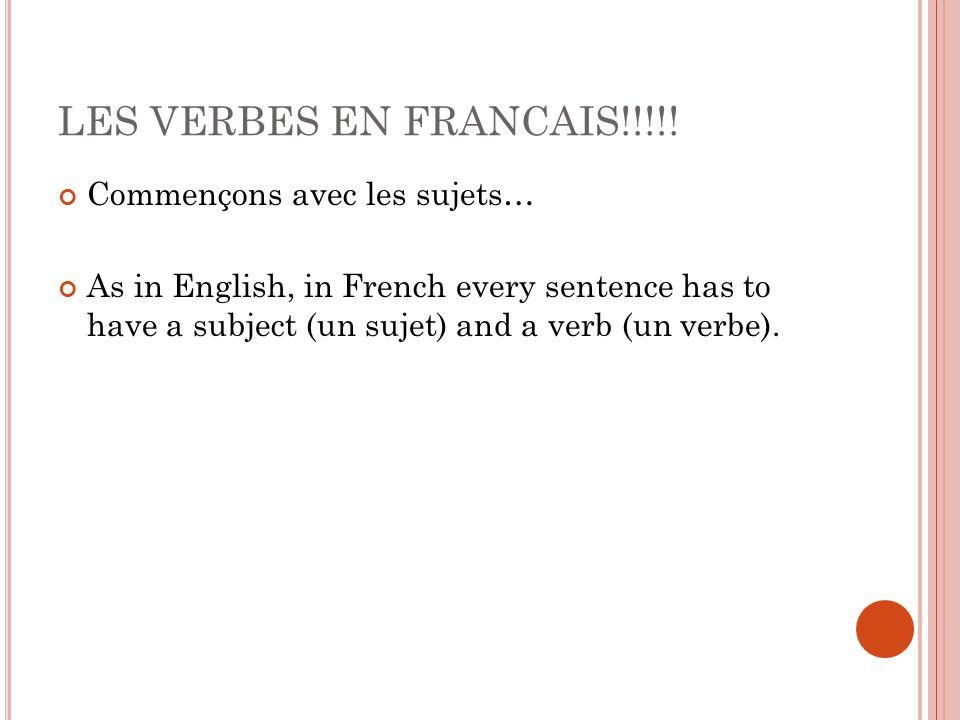 LES VERBES EN FRANCAIS!!!!.