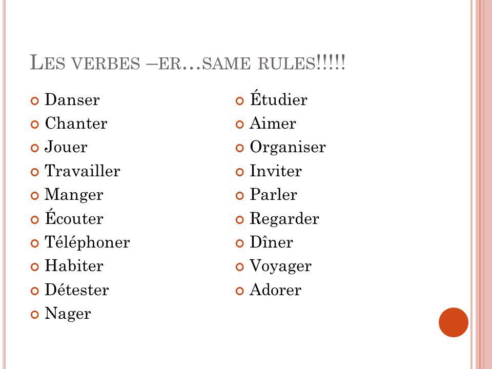 L ES VERBES – ER … SAME RULES !!!!.